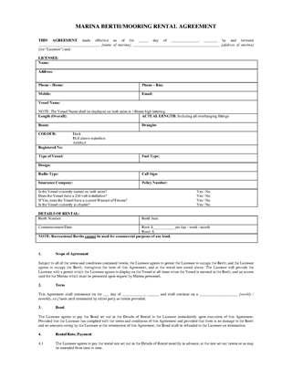 Picture of Marina Berth or Mooring Rental Agreement   New Zealand