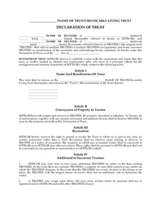 Picture of USA Revocable Living Trust Declaration