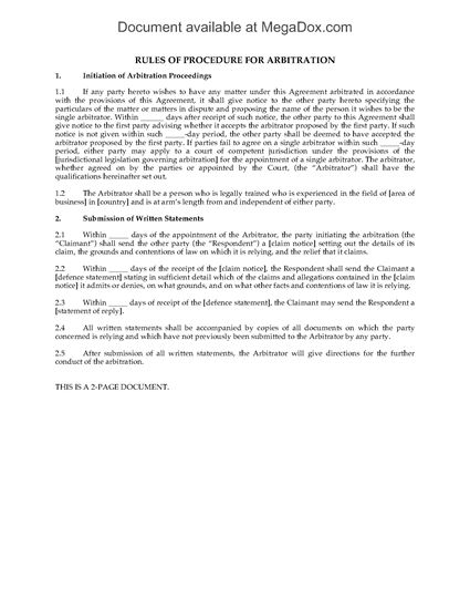 Picture of Rules of Procedure for Arbitration