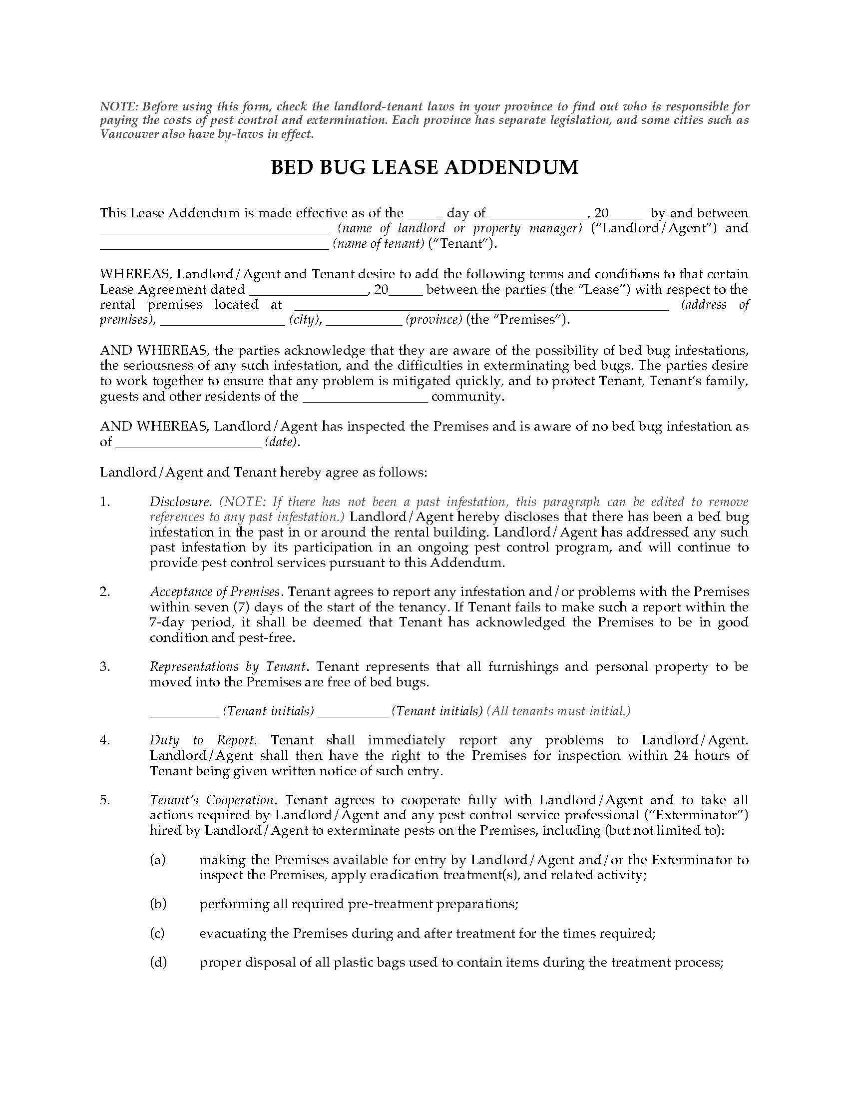 canada bed bug lease forms package | legal forms and business