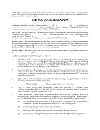 Picture of Bed Bug Lease Addendum Forms | Canada