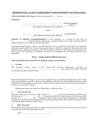 Picture of Alberta Residential Lease with Option to Purchase