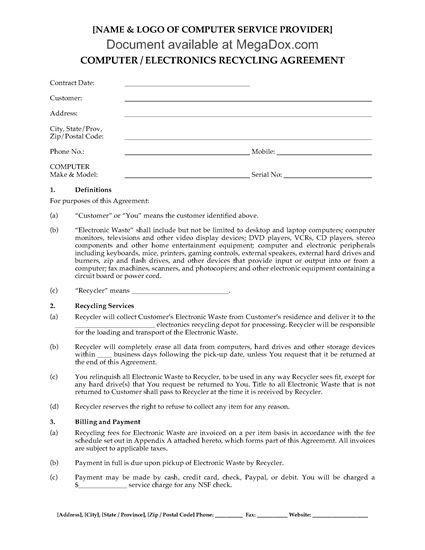 Picture of Computer & Electronics Recycling Agreement (Residential)