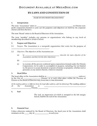 Picture of Ontario Bylaws of Non-Profit Corporation