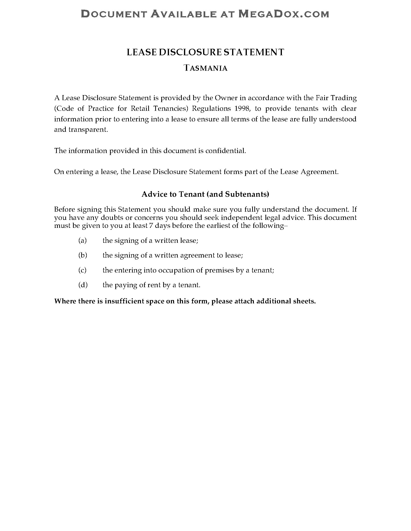 Tasmania Lease Disclosure Statement Legal Forms And Business