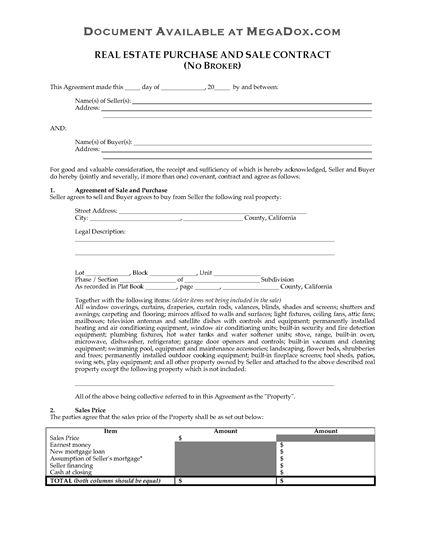 Picture of California Real Estate Contract (No Broker)