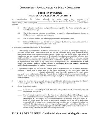 Picture of Fruit Picker Waiver and Release Form