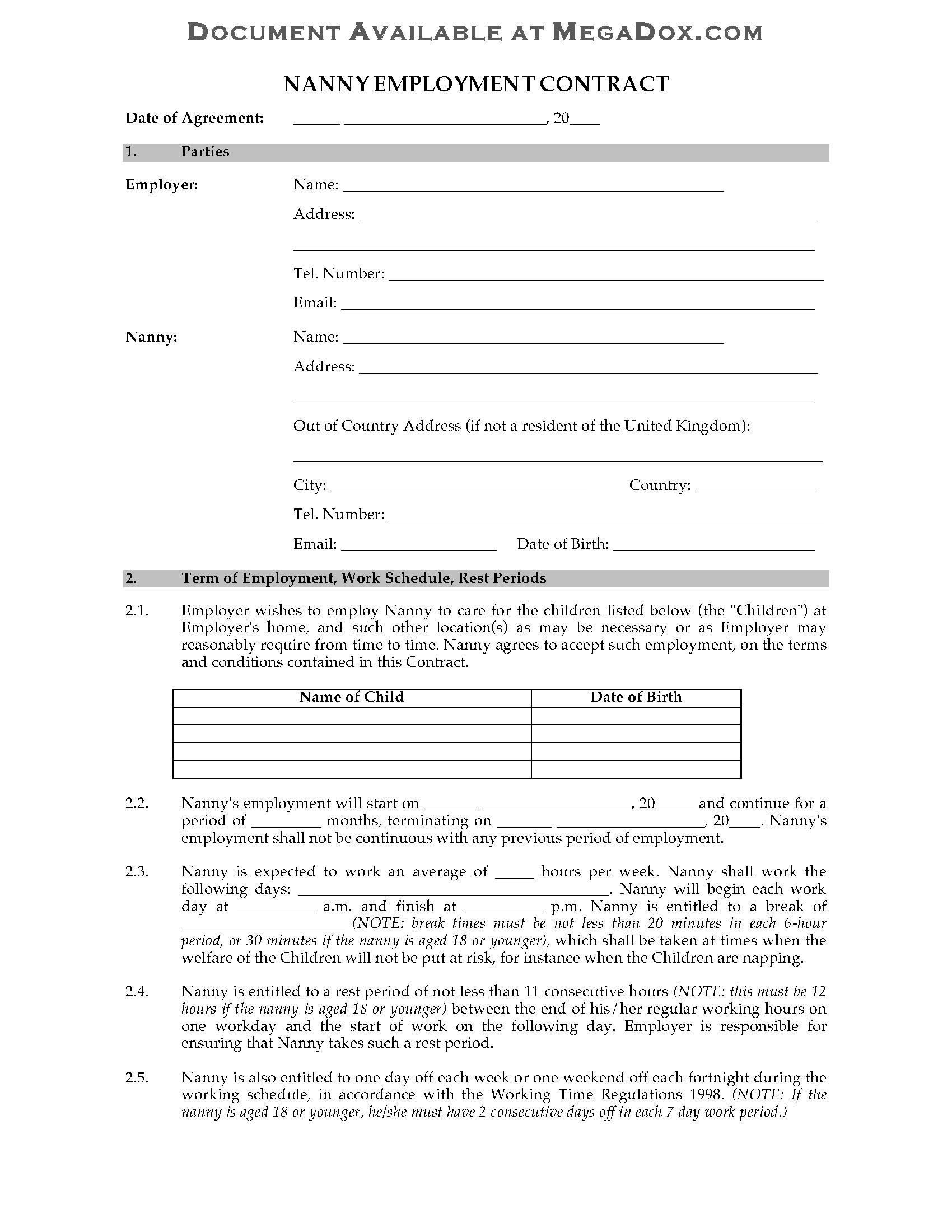 UK Nanny Employment Contract – Nanny Contracts