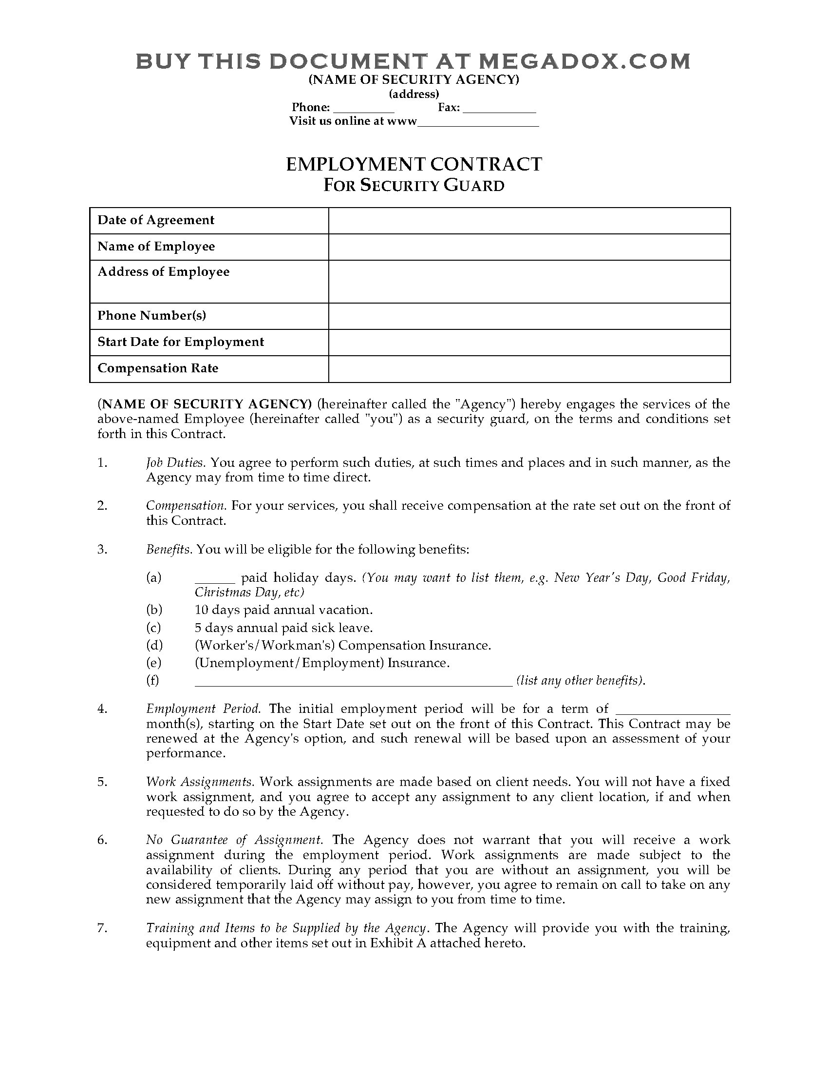 Superb Security Guard Contract Template