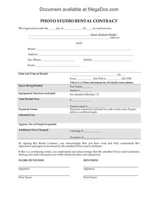 Picture of Photo Studio Rental Contract