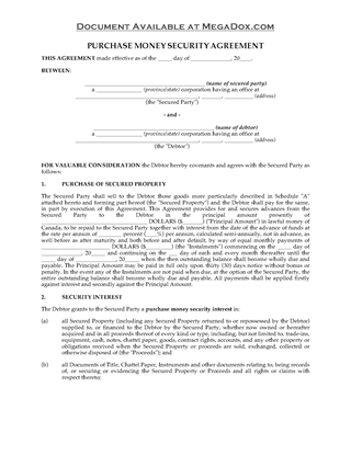 Picture of British Columbia Purchase Money Security Agreement