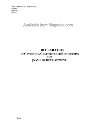 Picture of Utah Declaration of Covenants, Conditions and Restrictions (residential)