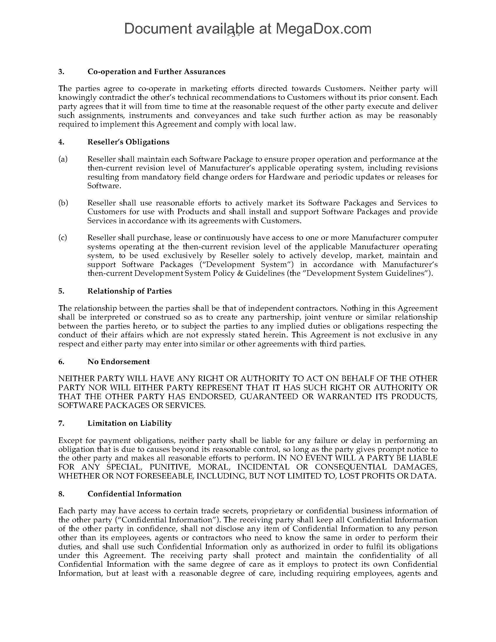 Value Added Reseller Var Agreement For Computer Sales Legal