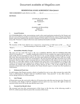Picture of New Jersey Fixed Term Residential Lease Agreement