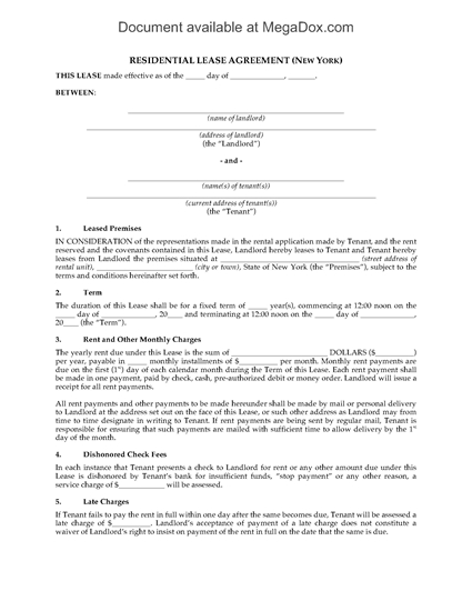 Picture of New York Fixed Term Residential Lease Agreement