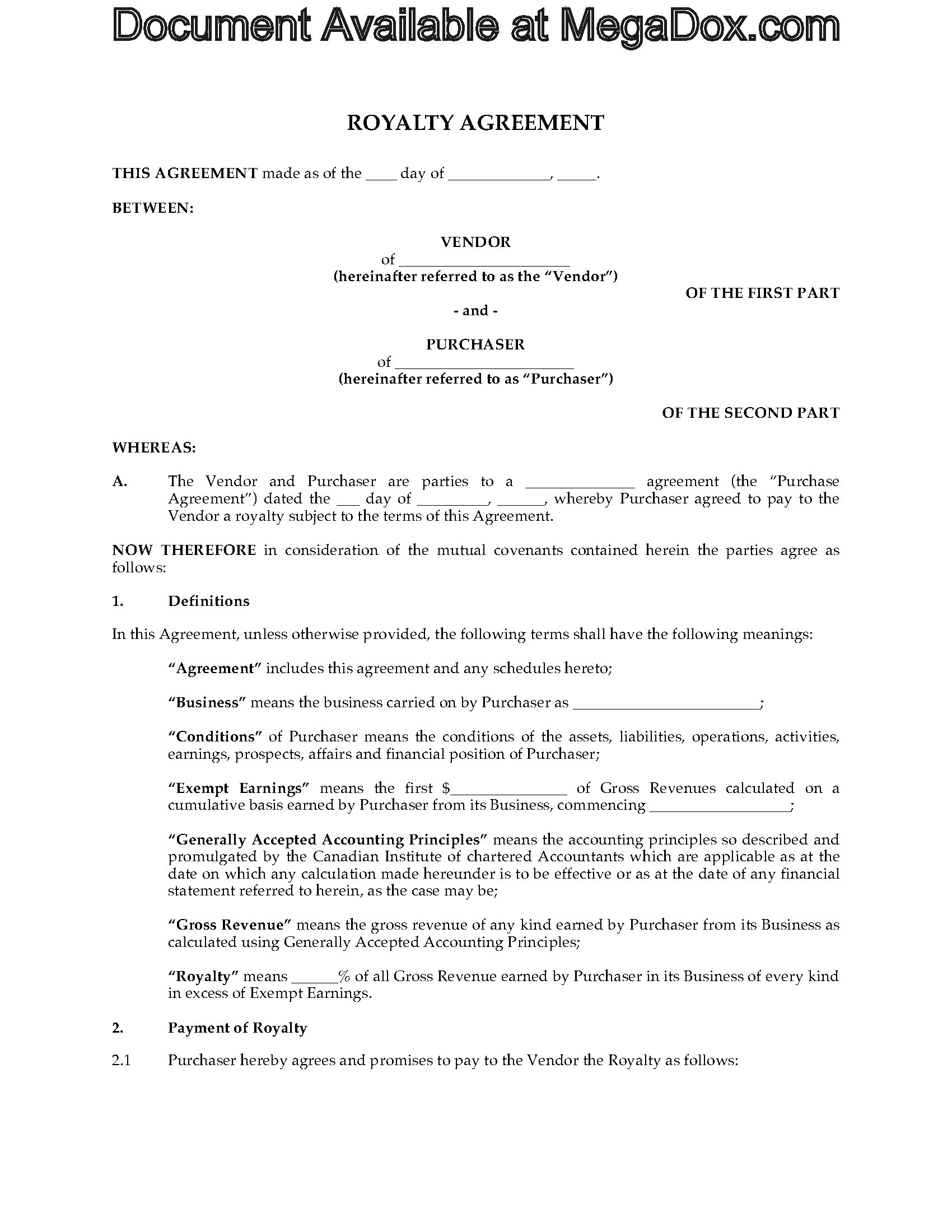 Canada royalty agreement for intellectual property legal for Intellectual property licence agreement template
