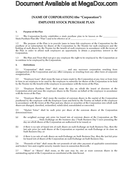 Picture of Employee Stock Purchase Plan by Interest Free Loan