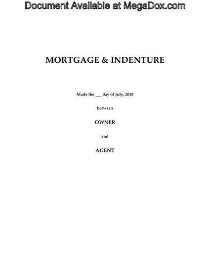 Picture of Alberta Syndicated Mortgage and Indenture