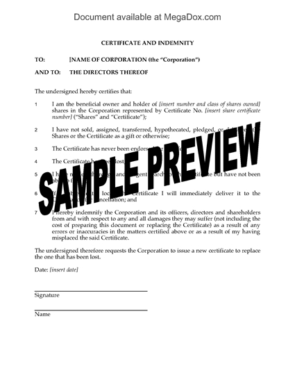 Picture of Indemnity for Lost Share Certificate | Canada