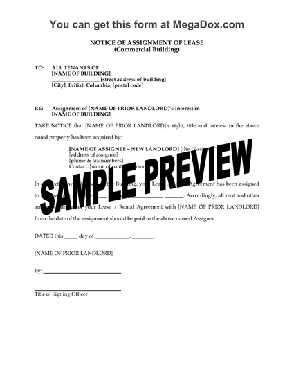 Picture of British Columbia Notice to Tenants of Assignment of Commercial Lease