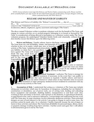 Picture of Volunteer Farm Worker Release and Waiver (USA)