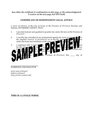 Picture of Certificate of Independent Legal Advice | Canada
