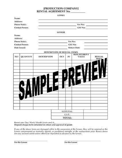 Picture of Rental Agreement Form for Film Productions