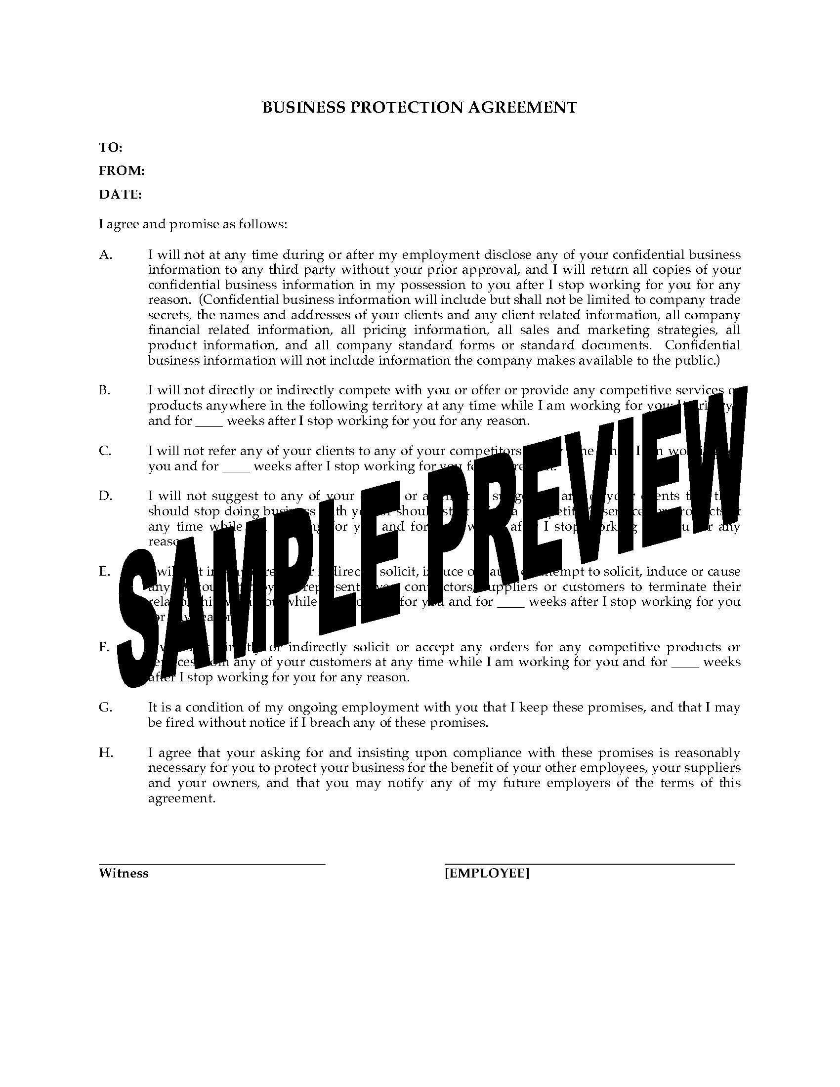 Business Protection Agreement For Departing Employee Legal Forms - Business and legal document templates