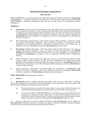 Picture of Master Franchise Agreement   Canada