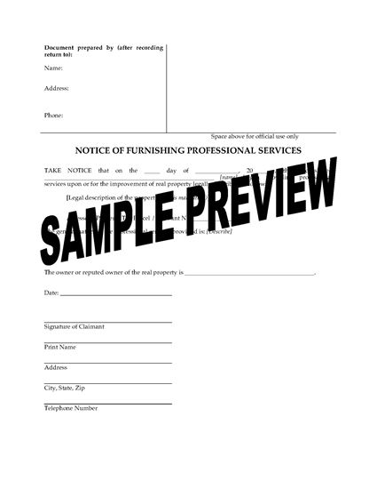 Picture of Washington Notice of Furnishing Professional Services