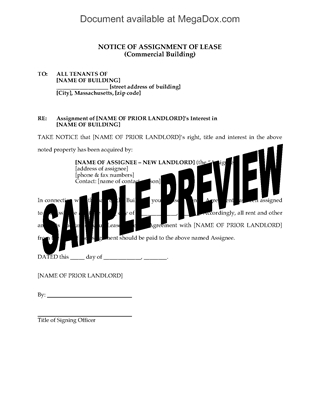 Picture of Massachusetts Notice of Assignment of Commercial Lease
