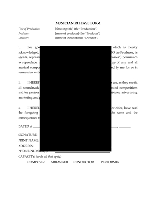 Picture of Musician Release Form for Film or TV