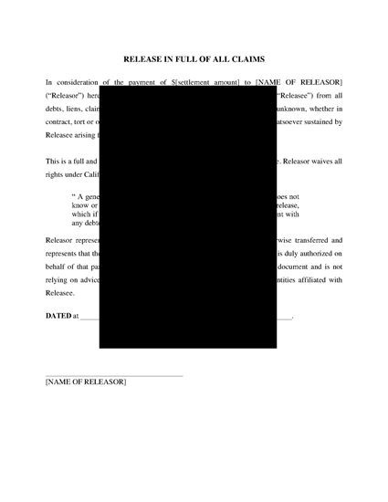 Picture of California General Release of All Claims