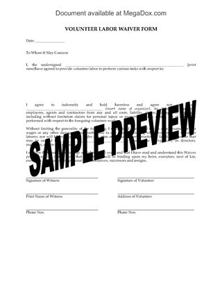 Picture of Volunteer Worker Waiver Form
