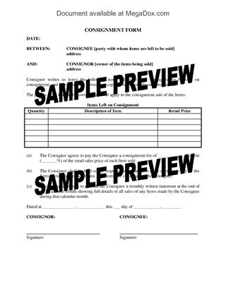 Picture of Consignment Form