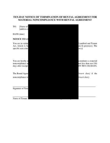 Picture of Arizona 10 Day Notice of Termination by Tenant for Material Noncompliance