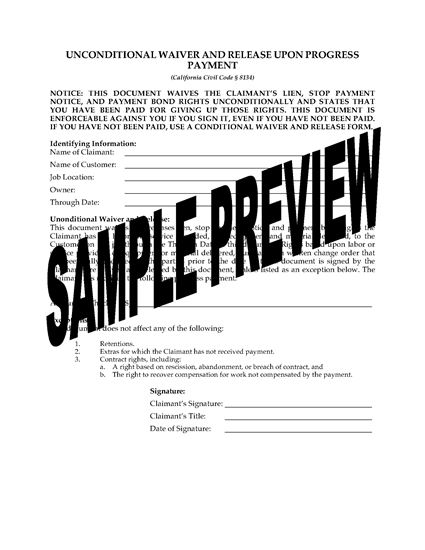 Picture of California Unconditional Waiver and Release of Lien (Progress Payment)
