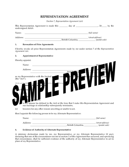 Picture of British Columbia Representation Agreement Package (Section 7)