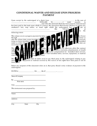 Picture of Colorado Conditional Lien Waiver and Release on Progress Payment