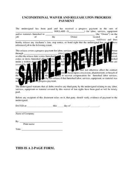 Picture of Colorado Unconditional Lien Waiver and Release on Progress Payment