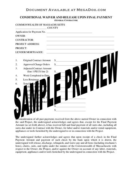Picture of Massachusetts Contractor Conditional Lien Waiver and Release-Final Payment