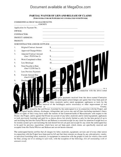 Picture of Massachusetts Subcontractor Partial Waiver of Lien and Release of Claims