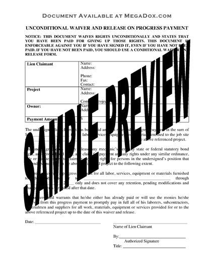 Picture of Oregon Unconditional Waiver and Release of Lien Upon Progress Payment