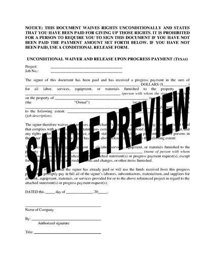 Picture of Texas Unconditional Waiver and Release of Lien Upon Progress Payment