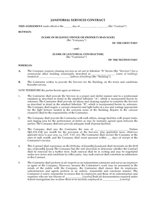 Picture of Cleaning Contract for Commercial Building