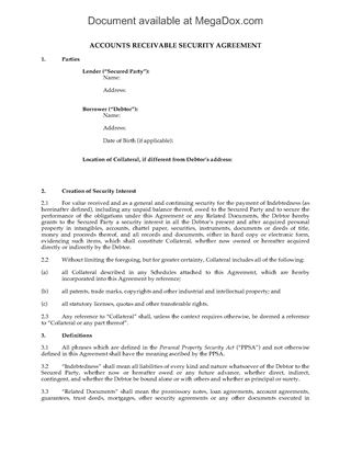 Picture of Accounts Receivable Security Agreement | Canada