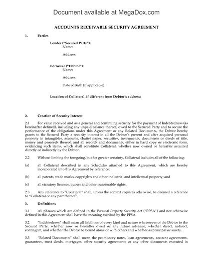Picture of Accounts Receivable Security Agreement   Canada