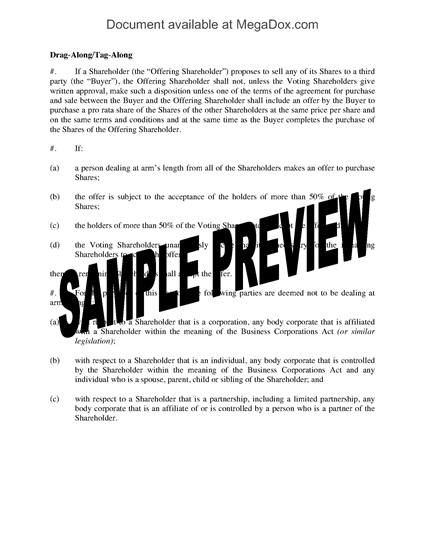 Picture of Drag Along, Tag Along Clause for Shareholder Agreement