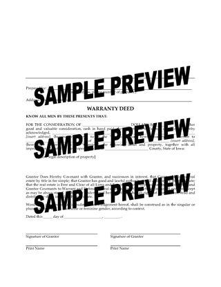 Picture of Iowa Warranty Deed Form