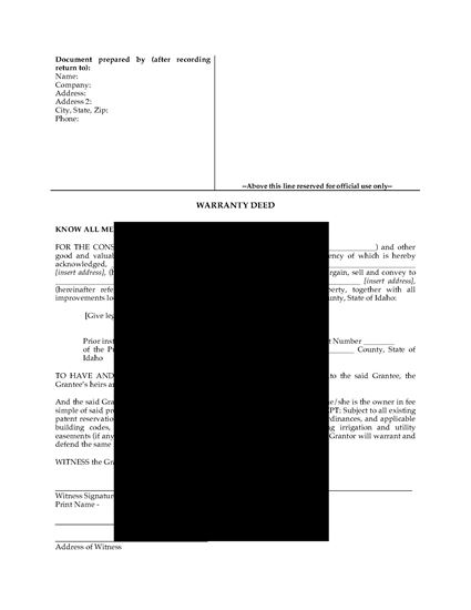Picture of Idaho Warranty Deed Form